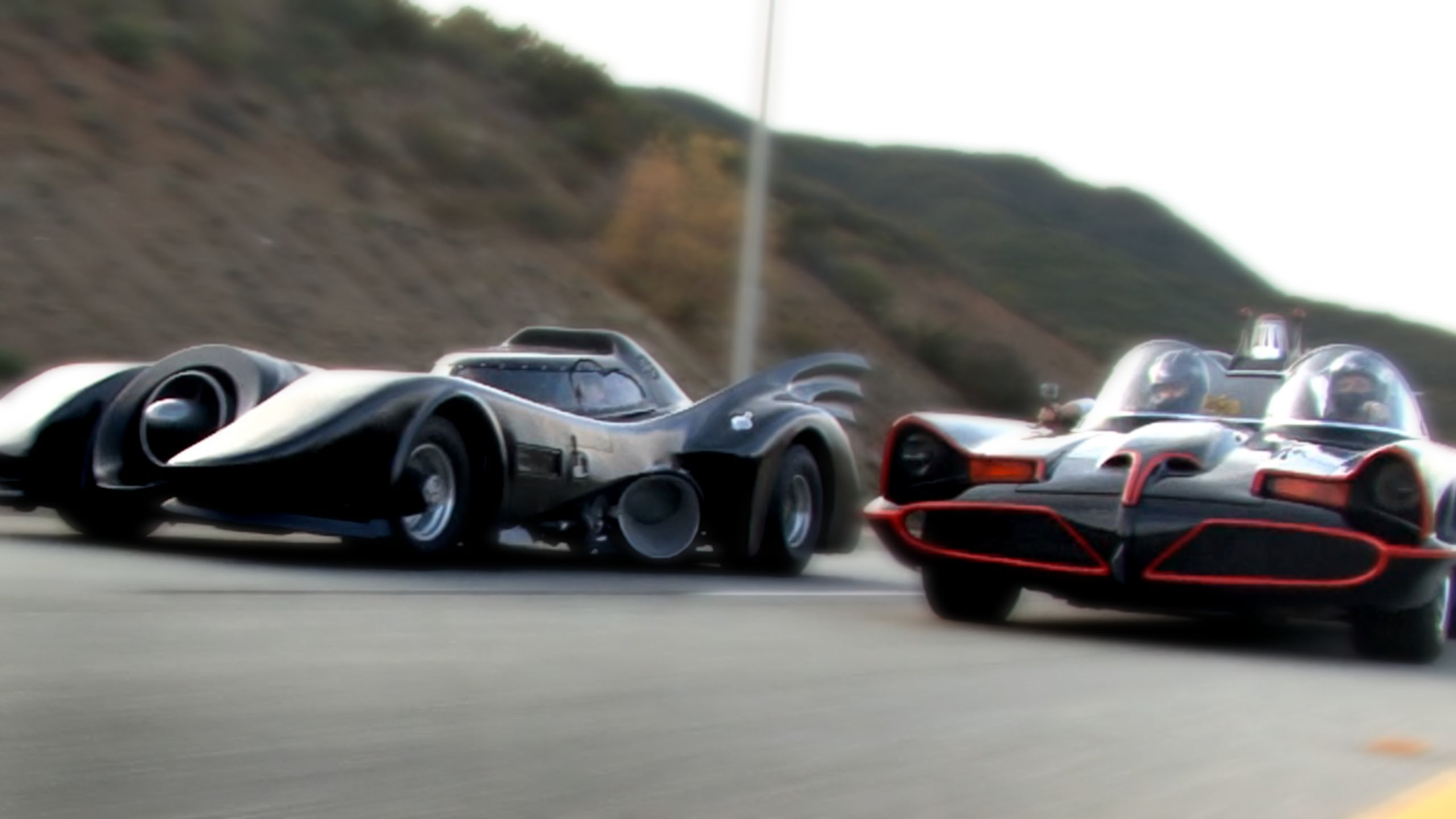 """Super Power Beat Down"" Batmobiles Racing 